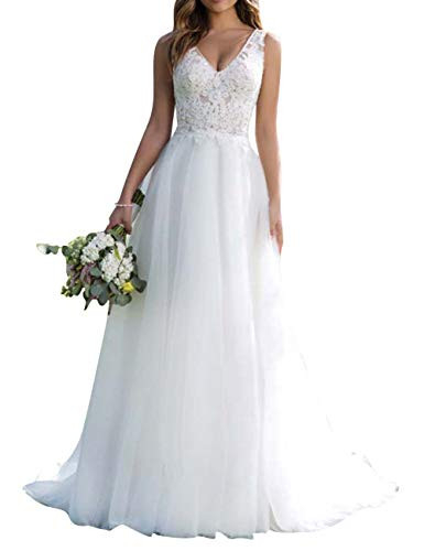 Wedding Dress Beach Lace Bridal Gown V Neck Tulle Bride